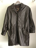 Leather Coat Size Uk M. (about 20). Ladies Real Leather Brown Coat Size M