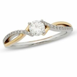 1/2 Round Natural Diamond Twist Solitaire Engagement Ring 14k Multi-Tone Gold