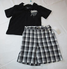 Baby Calvin Klein shorts Polo shirt 24 M months black white plaid NEW NWT