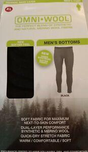 Omni Wool Thermal Base Layer Pants Size XL Black- Next to Skin Comfort NEW BOX!