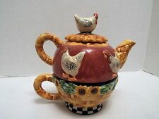 Chicken-in-a-Basket Theme Teapot With Cup