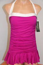 NWT Ralph Lauren Swimsuit Bikini 1 piece attached Dress Sz 14 PNK