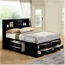 NEW ULTIMATE 8 Drawers Storage Black Queen King Bed Modern Bedroom Furniture