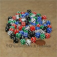 NEW 100 Multicolor Mini Tiny 8mm D6 Dice Set - 5 Colors 5/16 inch RPG Game D6s