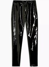 BNWT 10 12 TOPSHOP BLACK VINYL PVC PU LEATHER SHINY LEGGINGS TROUSERS  EMO GOT