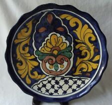 """BEAUTIFUL VINTAGE MEXICAN TALAVERA HAND PAINTED POTTERY PLATE 11"""""""