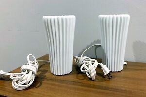 PAIR Vintage 2001 IKEA  White Glass Table Lamps STILLEBEN Lamp Bedroom Light EUC