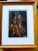 """The  BlackSmith  Art  Woodcut  Print   8 x 10"""" Picture Signed and Framed!"""