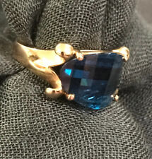 Sterling Silver Blue Sapphire Ring Gold Tone Size 8