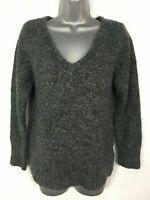 WOMENS NEW LOOK GREY FLUFFY V-NECK KNITTED JUMPER SWEATER PULLOVER SIZE UK 12