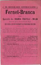 Stampa antica pubblicità FERNET BRANCA liquore Milano 1890 Old antique print