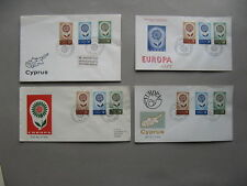 CYPRUS, 4x cover FDC 1964, Europe CEPT, fower