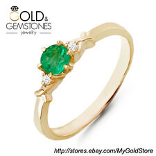 14K Yellow Gold Ring with Natural Emerald and Diamonds - Size: 6.5 USA (TCW) 0.4