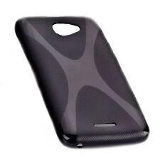X-Rubber Silikon TPU Handy Cover Case Black HTC Desire 516 + Displayschutzfolie