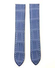100% Genuin Cinturino Strap Cartier Pelle Cocco Azur Blue Original Tank Solo pm