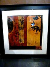 """Zen Contemporary Framed & Matted Print Japan/Bamboo/Maple 31"""" x 31"""" Red/Orange"""