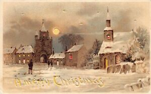 Hold-To-Light Postcard Merry Christmas Snowy Church and Town Scene~127634