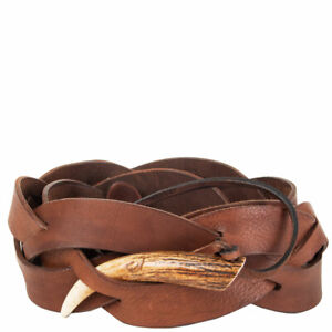 61934 auth RALPH LAURENT brown leather BRAIDED HORN Belt One Size