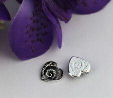 100PCS Silver Spiral Heart Acrylic Rhinestone Flatback 13mm #22042