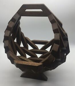 Wooden Geometric Block Art Basket Planter MCM Vintage.