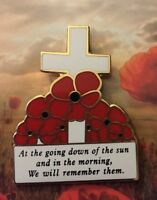 At The Going Down Of The Sun Poppy Cross Remembrance Day Lapel Pin  *ANZAC Day