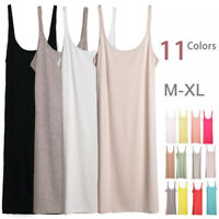 Layer Extra Long Stretchy Fitted Cami Tank Top Spaghetti Strap Mini Slip Dress