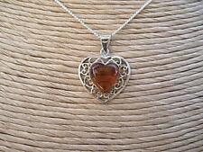 "Romantic Silver & Honey Amber Heart Pendant & Chain 18"""
