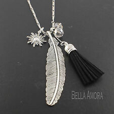 """Silver Tone Long Sweater Necklace Feather Tassel Sun Clear Crystal 30"""" - UK -204"""