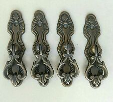 "4 antique tear drop brass handle pulls w. screws 3 3/4"" floral backplate #H9"