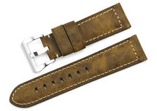 24mm Brown Vintage Genuine Assolutamente Leather Watch Band Strap For Panerai