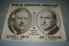 "Vintage 22"" x 14"" Alfred E Smith Robinson Jugate President Campaign Poster"