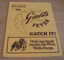 """1981 SEASON 'Official Program' """"FRESNO GIANTS"""" Baseball FEVER...Catch IT!"""