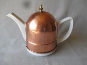 INSULATED PORCELAIN TEAPOT w/ COPPER COZY OR JACKET