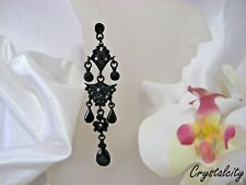 "NEW SLEEK JET BLACK  CRYSTAL faux JEWEL TEAR DROP CHANDELIER EARRINGS 3 7/8"" L"