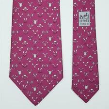 HERMES TIE 5472 FA Animal Face on Purple Classic Silk Necktie *MINT*