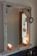 * HANDCRAFTED Chunky Rustic/Driftwood Whitewash Wood Mirror