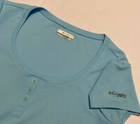 Columbia Sportswear Women's T-Shirt Blue Light Short Sleeve Logo Stretch Size M