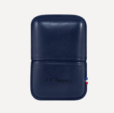 NEW ST Dupont Ligne 2 Lighter Blue Leather Case Holder Luxury 183073