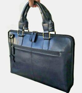 Mens Black Leather Briefcase Bag Laptop Travel Minimalist with Strap Handles