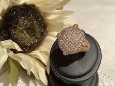 Judith Ripka 14K Gold Clad 925 Sterling Silver Pave' Dome Ring Size 7