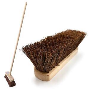 Outdoor Broom with Handle Stiff Yard Garden Hard Brush for Sweeping