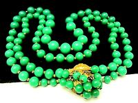 """Rare Vintage 16""""x1"""" Signed Miriam Haskell Jade Green Glass Bead Necklace A13"""