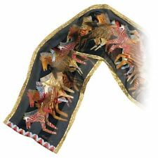 """Laurel Burch Silk Scarf   """"Native Horses"""" Black with Sequins 12"""" x 54"""""""