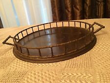 Vintage Large Brass Serving Tray Bamboo Style With Handles Made in India