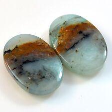 23Ct Natural Peruvian Blue Opal (20mm X 14mm each) Cabochon Pair