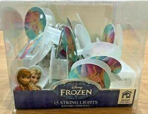 Disney Frozen 15 String Lights Elsa Anna Battery Operated Kids Bedroom NEW