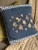 Needlepoint Pillow Cover Blue Flowers Plaid Velvet Back  16 X 17