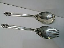 Georg Jensen Acorn Sterling Silver 2pc Salad Serving Set