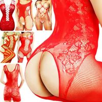 Fishnet Body Stockings Sleepwear Adult New Women's Lingerie Bodysuit Xmas Santa