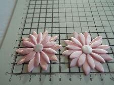 2x in raso rosa con bianco, GRANDE APPLIQUE-Daisy Motif, guarnizioni, Matrimonio, 5.5cm